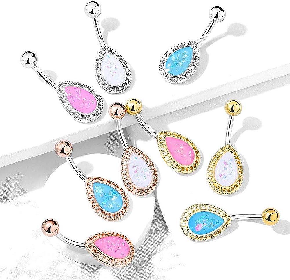 Covet Jewelry Opal Glitter Tear Drop Shield Surgical Steel Belly Button Navel Rings