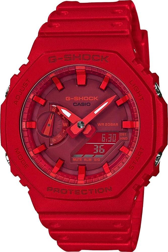 Casio ,orologio ,unisex con cinturino in caucciú ,cassa in plastica rossa con rivestimento in gomma GA-2100-4AER