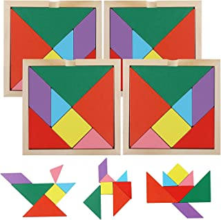 Mumoo Bear Wooden Tangrams Puzzles, 28 Pieces Tangram Puzzle Book Set Toy Colorful Educational Gift
