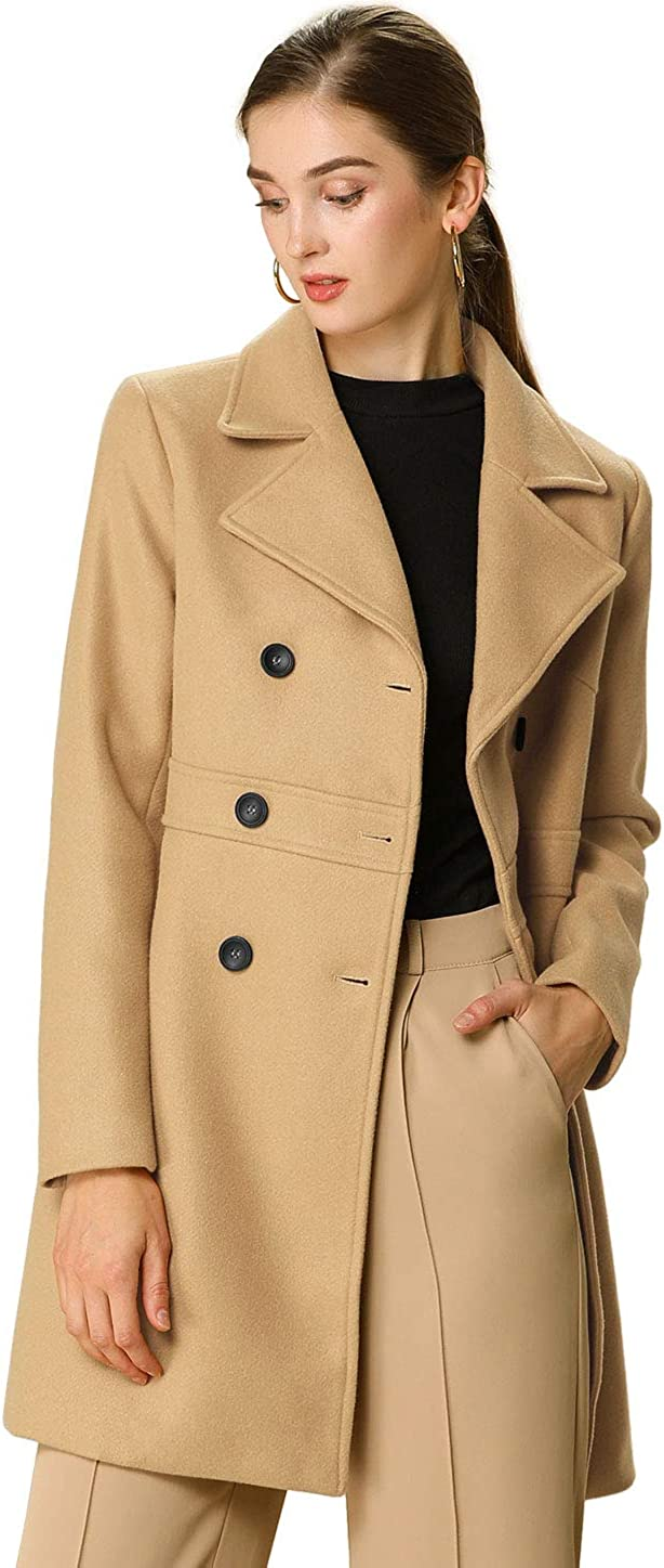 Allegra K Women's Free Shipping New Double Finally popular brand Breasted Lapel Winter Notched Coat Long