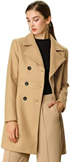 Allegra K Women's Double Breasted Notched Lapel Long Winter Coats