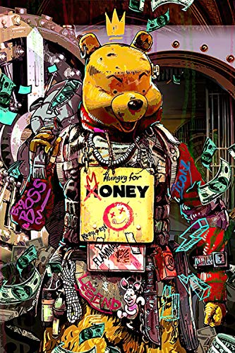 YWOHP Street Graffiti Art Animal Panda Bear Lienzo Pintura Mural Cartel impresión Sala de Estar Pared Cuadro Pared Cuadros-20X30