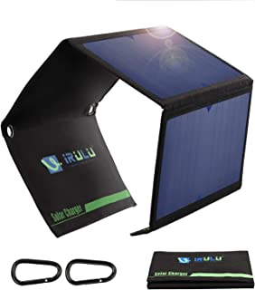 iRULU Solar Charger 21W Solar Panel with Dual USB Port Waterproof Outdoor Solar Battery Charger Foldable Camping Travel Charger for iPhone,iPad,Samsung Galaxy s9/s8,Tablet and More