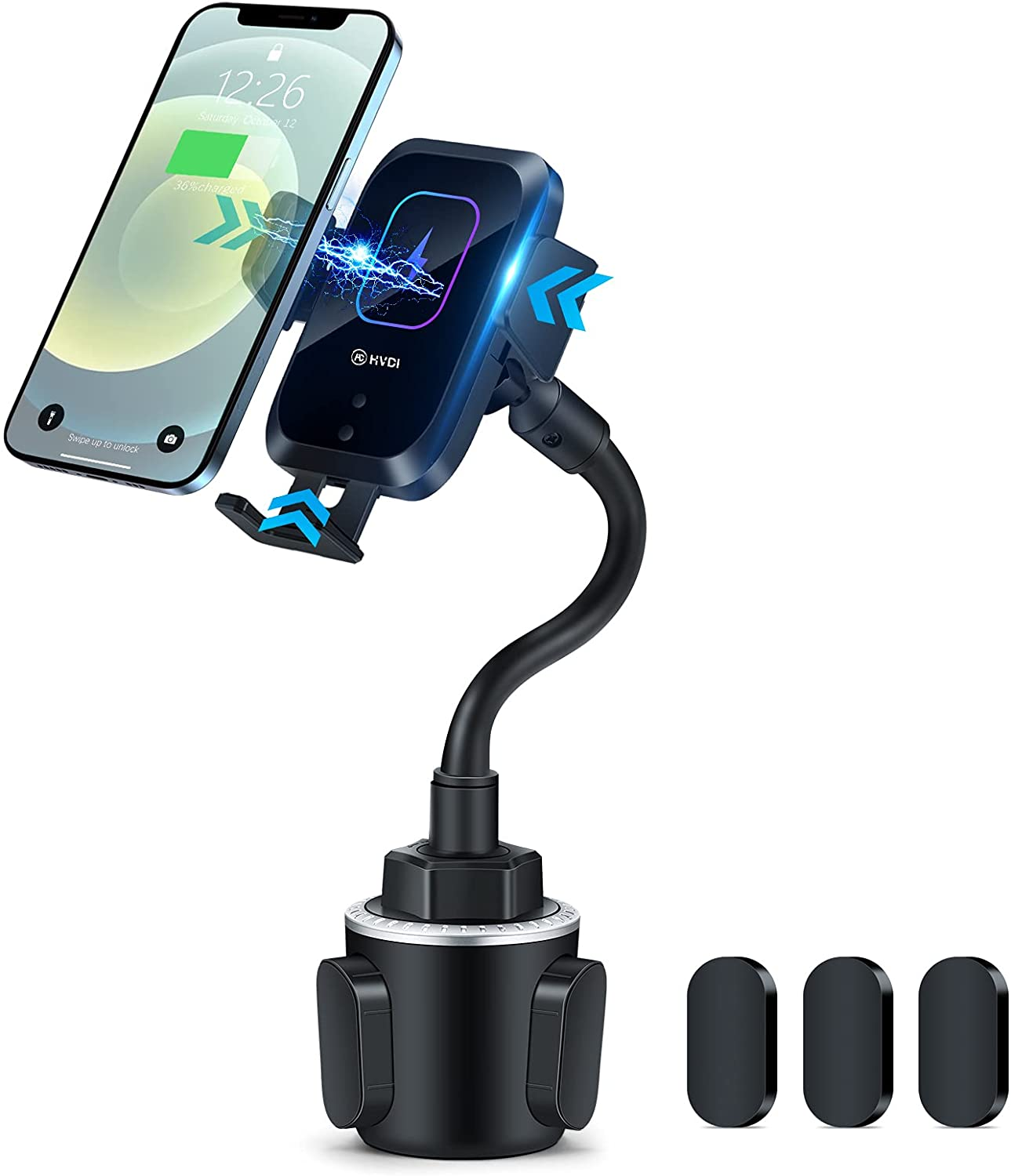 Piosoo Wireless Car Charger-Cup Holder Phone Mount