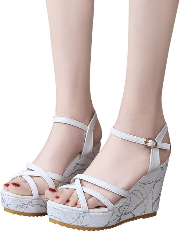 Fheaven Women Non-Slip Strap Cross Platform Sandals High Heels Buckle Slope Sandals Black