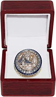 GOLDEN STATE WARRIORS (Kevin Durant) 2017 NBA FINALS WORLD CHAMPIONS Collectible High-Quality Replica NBA Basketball Gold Championship Ring with Cherrywood Display Box