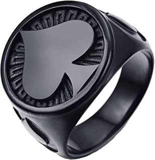JAJAFOOK Jewelry Stainless Steel Black Plating Ace of Spades High Polished Gothic Biker Tribe for Men's Rings