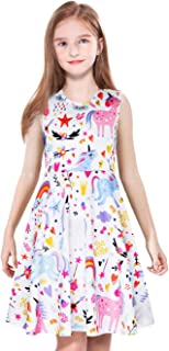 Girls Casual Dress,Unicorn Dinosaur Mermaid Butterfly Print,Long/Short Sleeve/Sleeveless Knee/Maxi Dresses for Kids