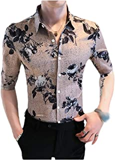 CuteRose Mens Slim Fitted Floral Print 3/4 Sleeve Vogue Button Non-Iron Shirts