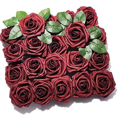 PartyWoo Künstliche Rosen, 20 Stück Kunstblumen, Künstliche Blumen, Deko Blumen, Schaumrosen, Kunstblumen Deko, Kunstblume für Geburtstagsdeko, Hochzeitsdeko, Party Deko (Rot)