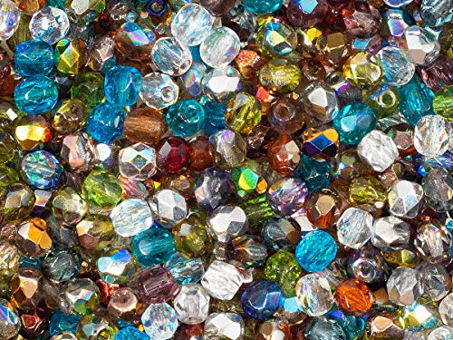 600 Pieces Czech Fire-Polished Faceted Glass Beads Round 4mm, Transparent Mix