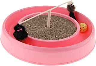 LOVIVER Corrugated Paper Turntable Scratch Pad with Ball Mouse Cat Scratcher Mat