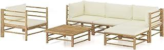 Tidyard Set de Muebles de Jardín 6 Piezas Sillones Mesa para Exterior Patio Terraza Bambú y Cojines Blanco Crema