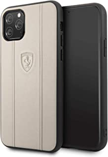 Ferrari Off Track Leather Embossed Line For iPhone 11 Pro - Beige