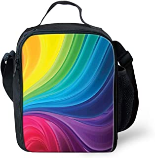Lunch Box Insulated Lunch Bag Tough & Spacious Lunchbox, Abstract Smooth Rainbow Curvy Lines Pattern Spiral Wavy Light Spray Art,Lunch Bags for Men,Adults,Kids,Women