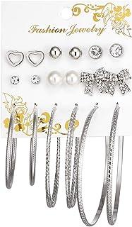 Ronshin Fashion 9 Pairs Women Fashion Bowknot Love Shape Big Circle Earrings Set