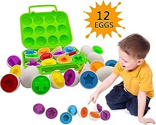 Beakabao - Juego de 12 huevos a juego con forma y color Montessori para niños pequeños, juguetes de clasificación de educación para habilidades motoras finas de los dedos musculares, niños preescolares, puzles inteligentes de Pascua, Verde