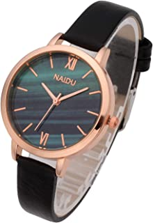 Top Plaza Women Girls Thin Leather Wrist Watch Fashion Unique Rose Gold Case Marbled Roman Numerals Dial Analog Quartz Watches