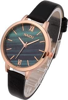 Top Plaza Women Girls Thin Leather Wrist Watch Fashion Unique Rose Gold Case Marbled Roman Numerals Dial Analog Quartz Watches