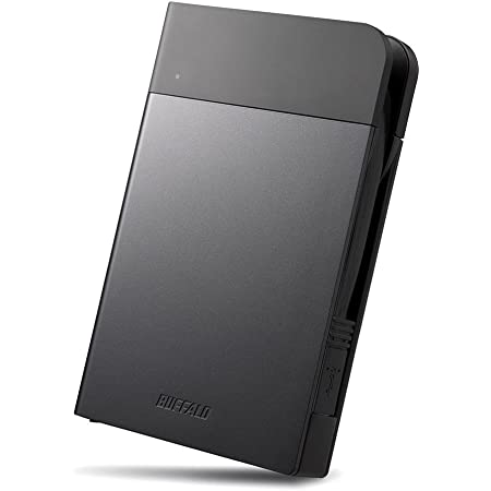 BUFFALO ICカードロック解除対応MILスペック耐衝撃ボディー防滴・防塵ポータブルHDD 2TB ブラック HD-PZN2.0U3-B
