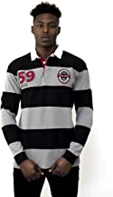 Guinness Black/Grey Striped Rugby Jersey - Traditional Long Sleeve Cotton Polyester Polo Shirt
