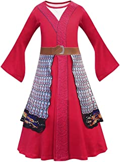 Tsyllyp Girls Mulan Costume Classic Chinese Princess Dress Kids Halloween Heroine Cosplay