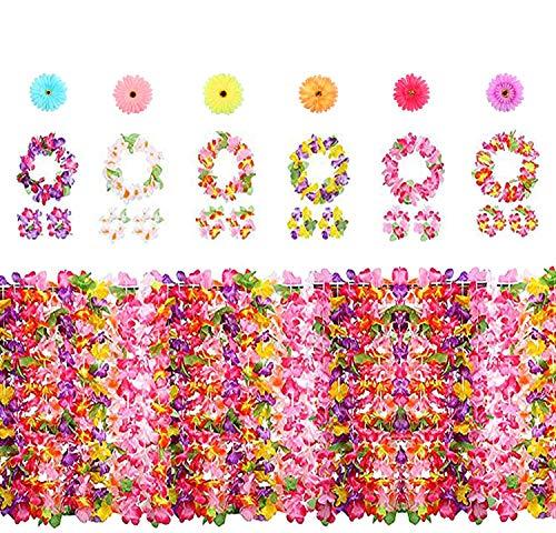 Yojoloin 30 PCS Hawaiian Party Decorations Accessories,Tropical Hawaiian Garlands Leis Luau Flowers Necklaces,Bracelets,Headbands,Luau Flower Hair Clip for Party Supplies,Beach Party Decorations