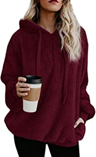 Giuoke Women Casual Hooded Drawstring Warm Outwear Long Sweatshirts Pullover Hoodies