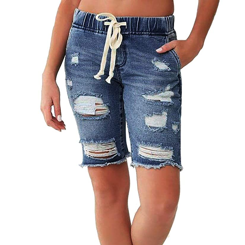 Landscap New Women Summer Drawstring Elastic Waist Denim Shorts Destroyed Washed Short Jeans Pants