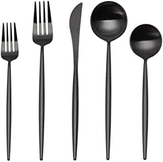 Matte Silverware Set, SHARECOOK 20-Piece Stainless Steel Satin Finish Flatware Set Service for 4, Kitchen Utensil Set, Tableware Cutlery Set for Home and Restaurant (Matte Black 20P, 20-Piece)
