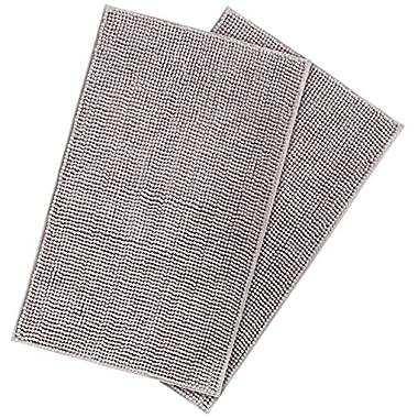 Lifewit 2 Pack 32 x20  Bath Mat Anti Slip Microfiber Shaggy Chenille Bath Rugs Bathroom Shower Mats Rug Grey