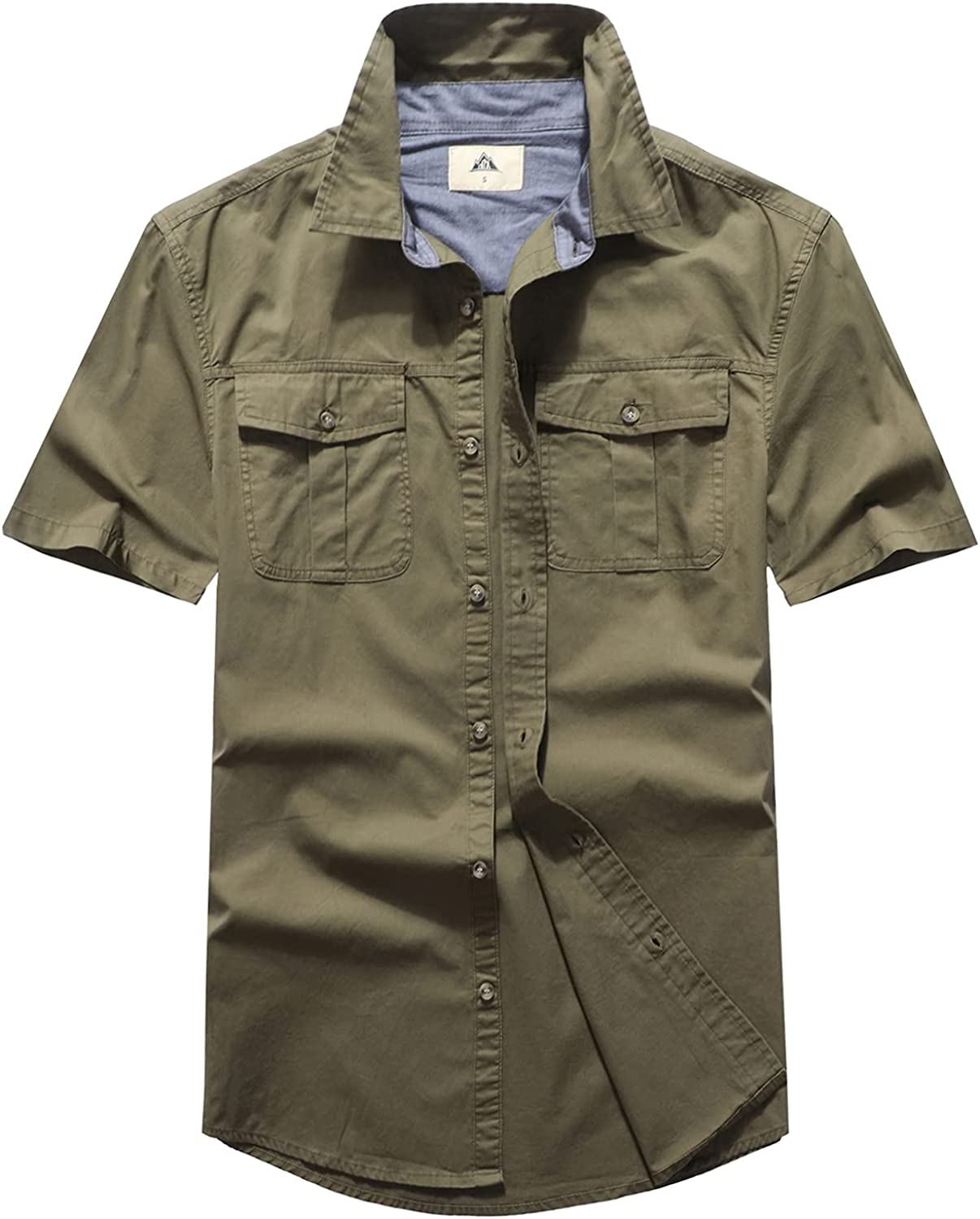 KPO 4 years warranty Men's Industrial Button-Down Work Short El Paso Mall Fit Shirts Regular S