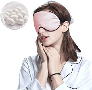 100% Mulberry Silk Sleeping Mask, Super Soft and Smooth, Blindfold, Black Back with Adjustable Strap (Pink)