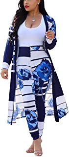 LKOUS Women 2 Piece Outfit Floral Long Sleeve Open Front Kimono Cardigan and Bodycon High Waisted Long Pants Clubwear