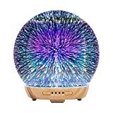 COOSA Essential Oil Diffuser - 250ml 3D Glass Aromatherapy Diffuser Cool Mist Humidifier with 4 Timer,2 LED Colors and Waterless Auto Shut-Off Settings for Home,Office