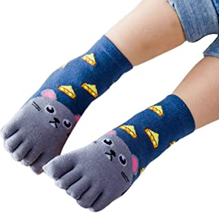 Dolloress Cute Annimal Five Finger Socks Baby Socks Slippers for Newborn Baby Boys Girls Toddlers 5 Toes for Kids 3 to 7 Years