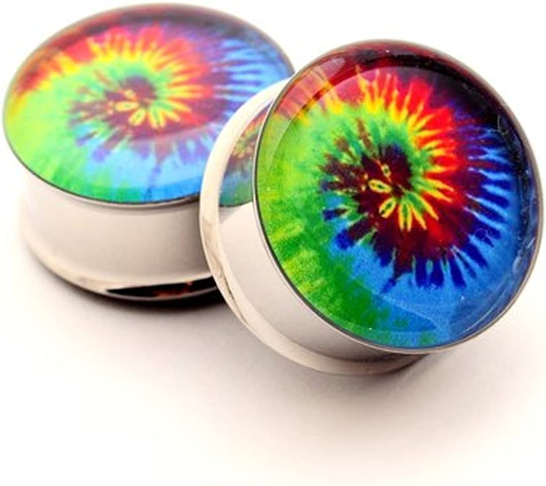 Mystic Metals Body Jewelry Tie Dye Picture Plugs - 1/2 Inch - 12mm - Sold As a Pair