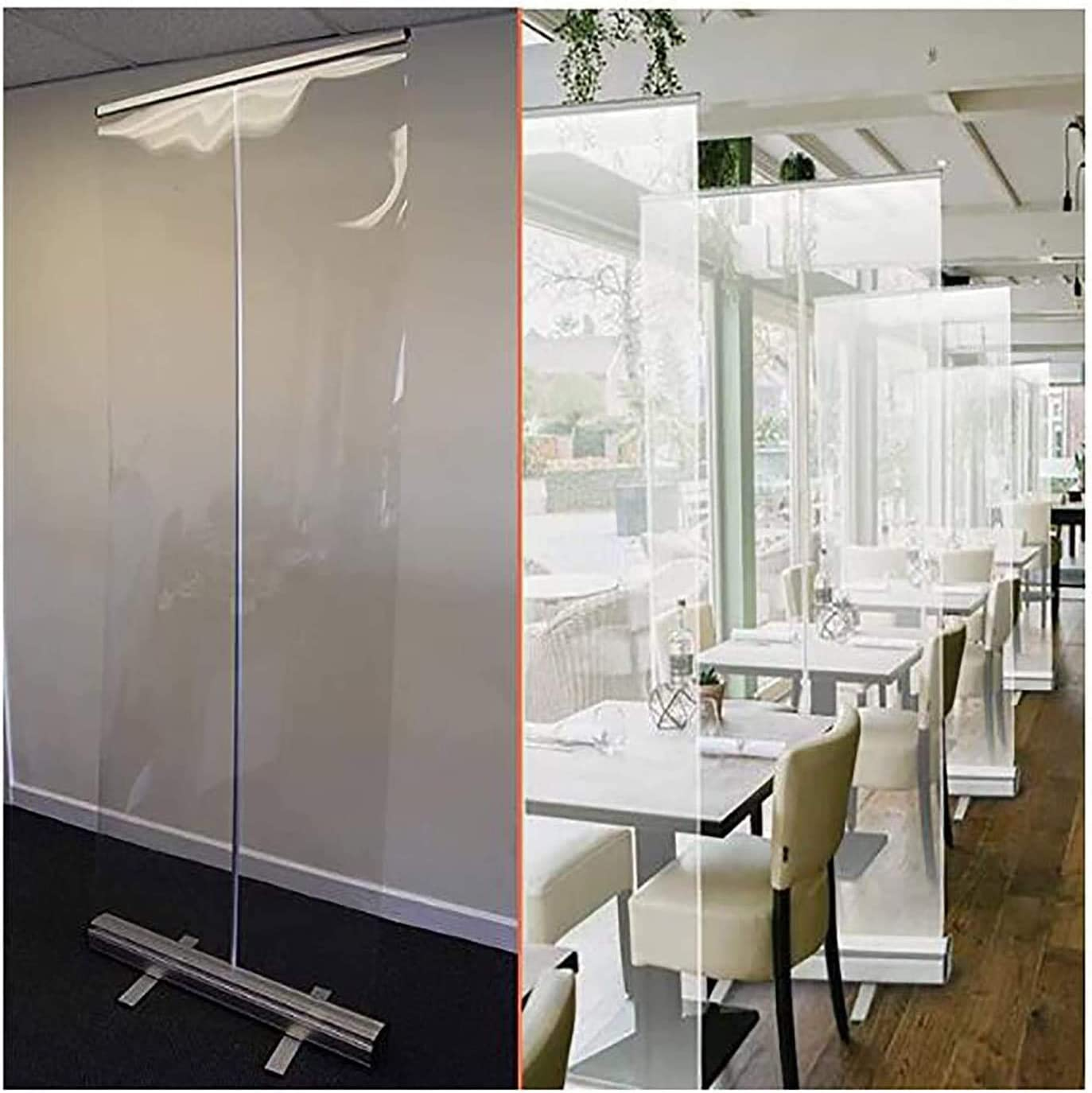 (Using in Business) Transparent Pull Up Banner Screen Sneeze Guard Shield Plastic Divider Social Distancing Screen,6001600mm Clear Film Protection Screen for Office,Stores,Restaurant,Classroom,Gym,Sal