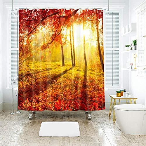 Nobrand douchegordijnen voor badkamer met natuurlijke gouden bladeren, bootjes, herfst, landschap, waterdicht, verdikt