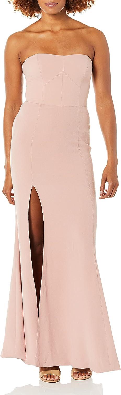 Dress the Population Women's Ellen Strapless Dress Solid Crepe Long Gown W Slit, Blush, XL