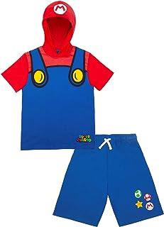 مجموعة تي شيرت وقميص قصير بغطاء للرأس للأولاد سوبر ماريو ولويجي (أزرق، 8)