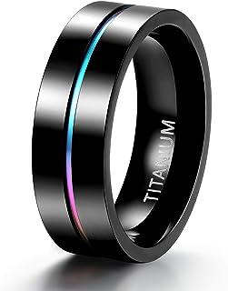 حلقه تیتانیوم رنگین کمان TIGRADE 5mm / 7mm حلقه تیتانیوم رنگین کمان رنگارنگ باریک عروسی باند بالا حلقه های زوج سیاه جلا جلا اندازه 5-11