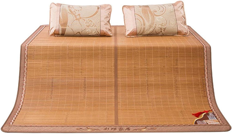 Summer Sleeping Mat,Double-Sided Bamboo Mat Cooling Mattress Top Mat,Smooth Air-Conditioned Mat,Three-Piece (Size   90  190cm)