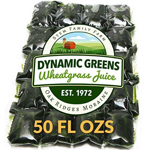 Dynamic Greens Wheatgrass Juice - 50 Fl Ozs - Just $1.99 Per Oz - 100% Wheatgrass Juice - Field Grown - Flash Frozen - Unpasteurized - 100 x 0.5 Fl Oz Portions