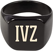 Molandra Products IVZ - Adult Initials Stainless Steel Ring