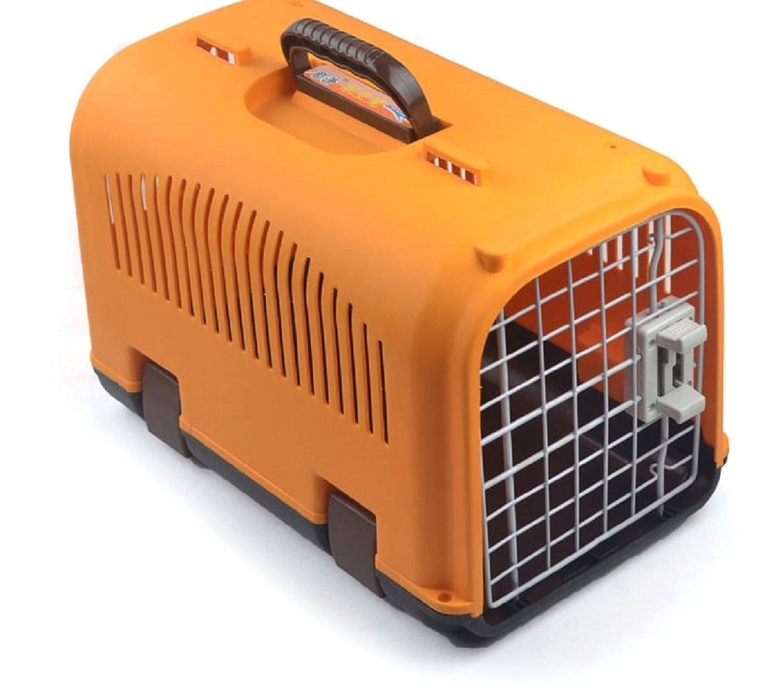 Spinas-スピナス- ペット 犬 猫 小動物 ケージ キャリー バッグ プラスチック オールシーズン 組立式 お出かけ 小型 (ピンク グリーン オレンジ ブルー 全4色) (オレンジ)