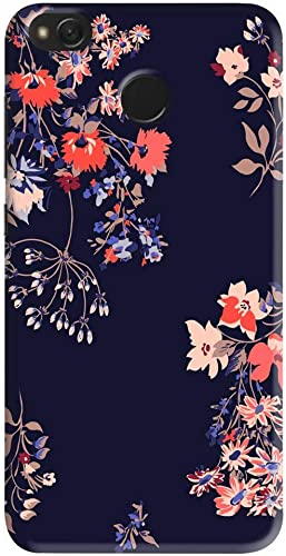 Phonto Colorful Flower Floral With Blue Background Designer Printed Hard Back Case Cover For Redmi 4