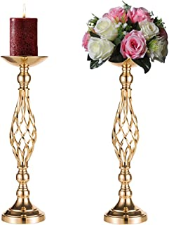 Sziqiqi 2 Pcs Metal Flower Vase, Wedding Party Flowers Centerpieces for Table, Tall Candle Holder for Pillar Candle, Restaurant Hotel Decorations (52CM ×2)