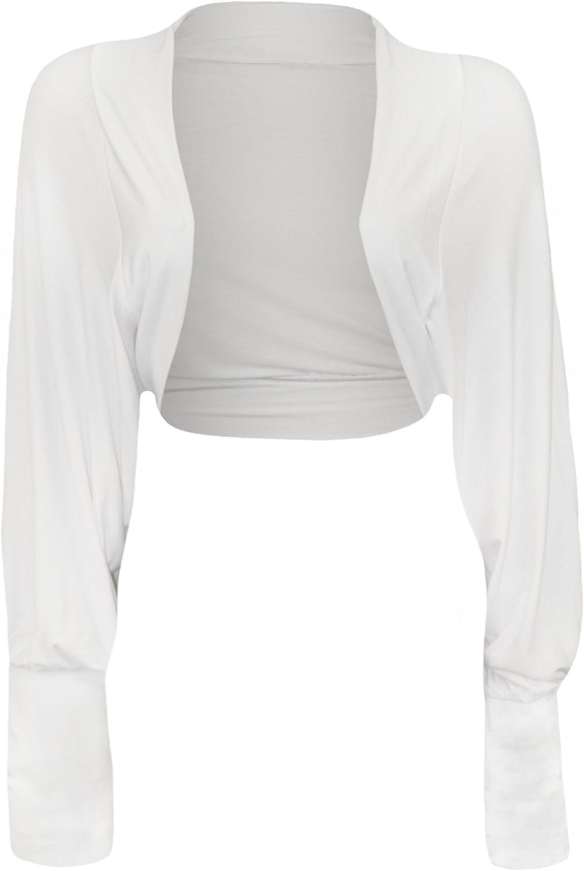 WearAll Womens Batwing Shrug Long sleeve Bolero Cardigan - White - US 4-6 (UK 8-10)