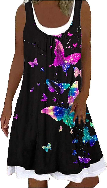 Womens Summer Dresses Sleeveless Casual T Shirt Dresses Butterfly Print Plain Tank Dress Super Soft Crewneck Sun dress